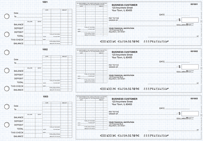Blue Knit General Itemized Invoice Business Checks