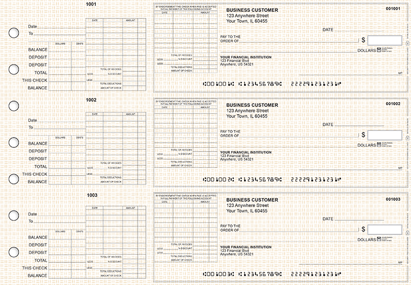 Tan Knit General Itemized Invoice Business Checks