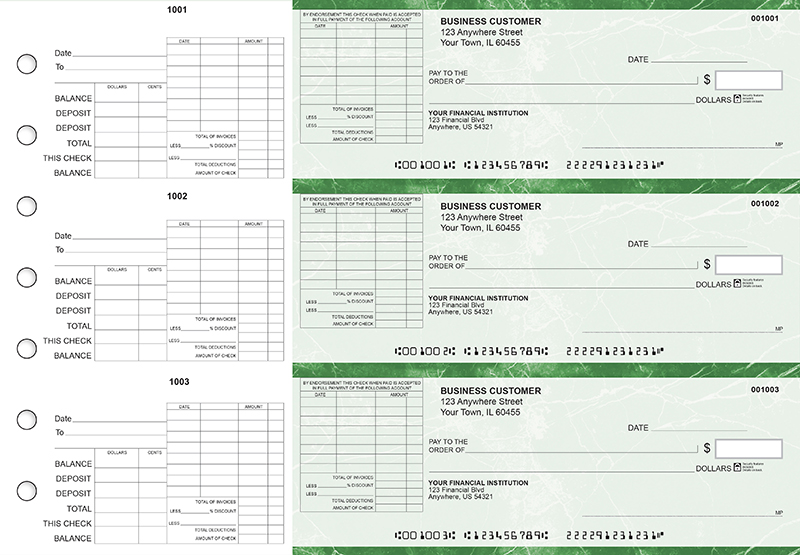 Green Marble General Itemized Invoice Business Checks