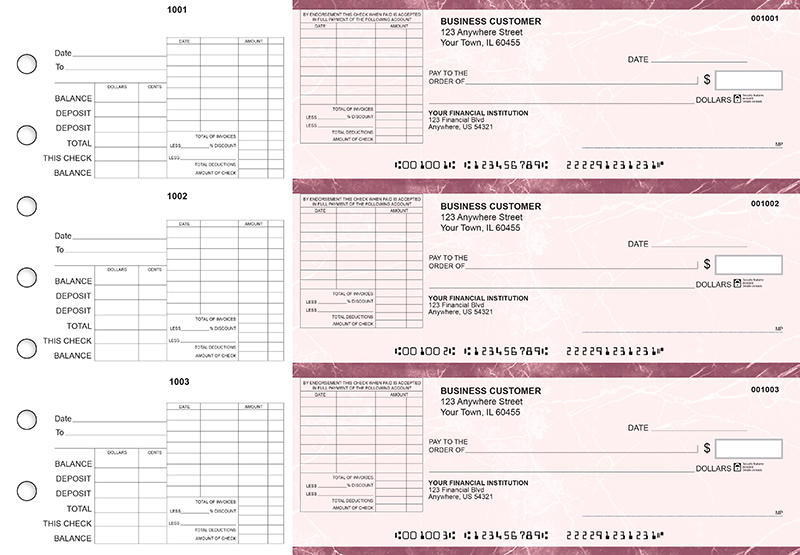 Burgundy Marble General Itemized Invoice Business Checks