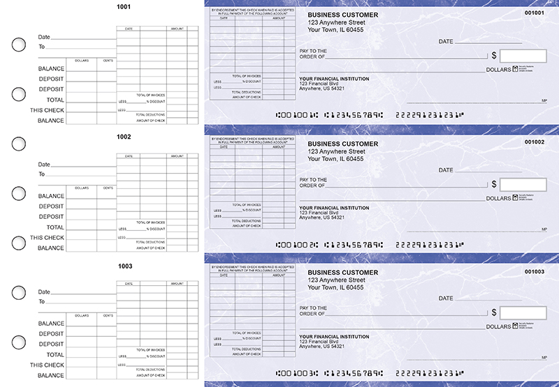 Blue Marble General Itemized Invoice Business Checks