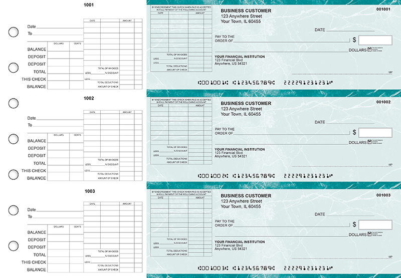Teal Marble General Itemized Invoice Business Checks