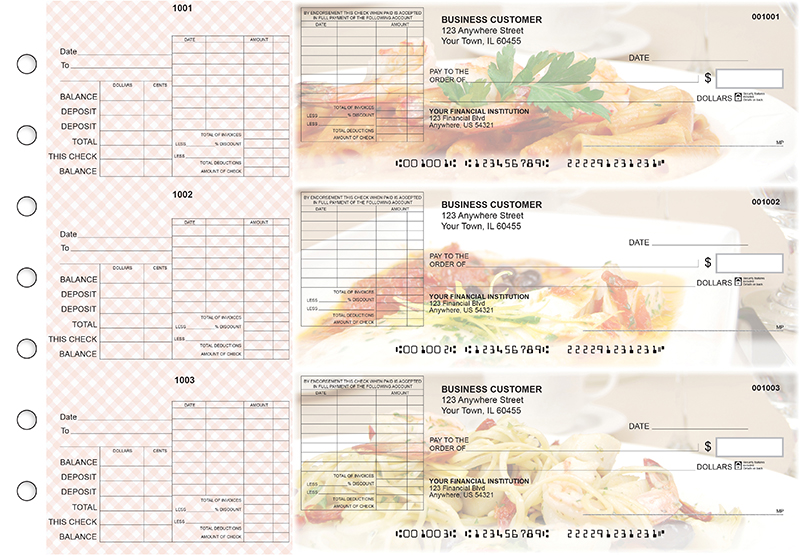 Italian Cuisine General Itemized Invoice Business Checks