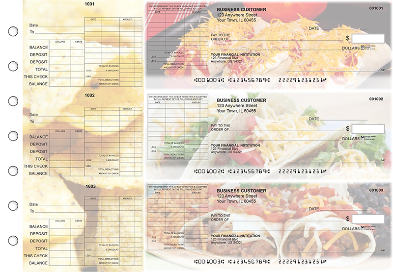 Mexican Cuisine General Itemized Invoice Business Checks