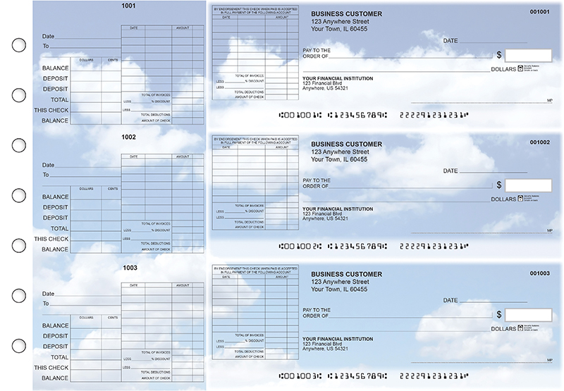 Clouds General Itemized Invoice Business Checks