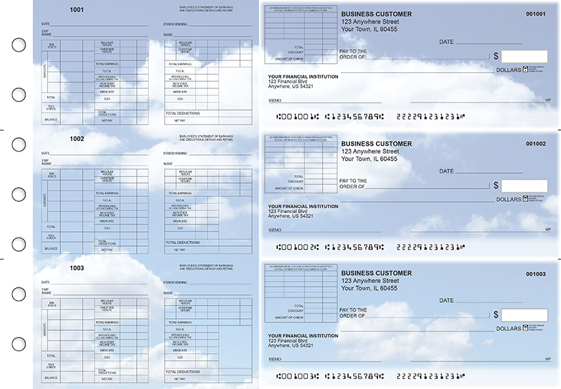 Clouds Multi-Purpose Corner Voucher Business Checks