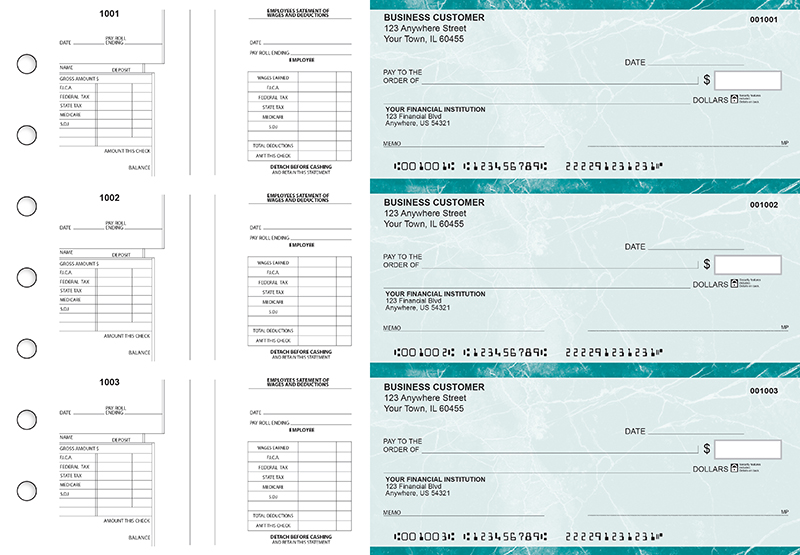 Teal Marble Multi-Purpose Salary Voucher Business Checks