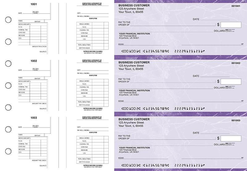 Purple Marble Multi-Purpose Salary Voucher Business Checks