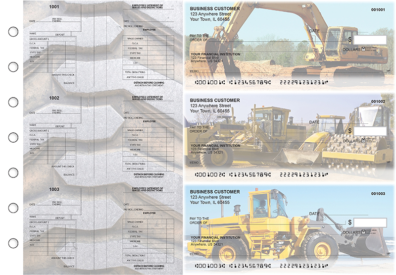 Construction Multi-Purpose Salary Voucher Business Checks