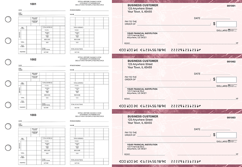 Burgundy Marble Multi-Purpose Counter Signature Business Checks