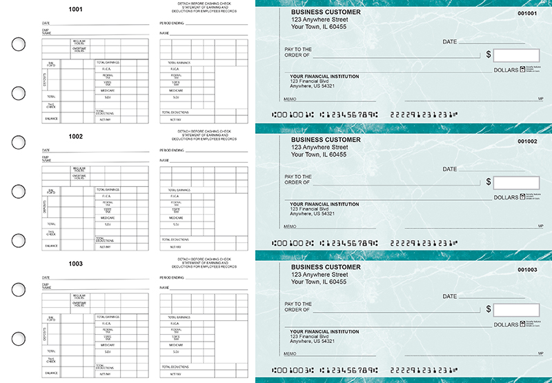 Teal Marble Multi-Purpose Counter Signature Business Checks