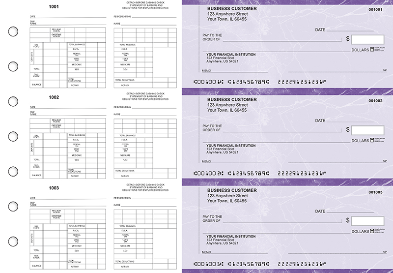 Purple Marble Multi-Purpose Counter Signature Business Checks