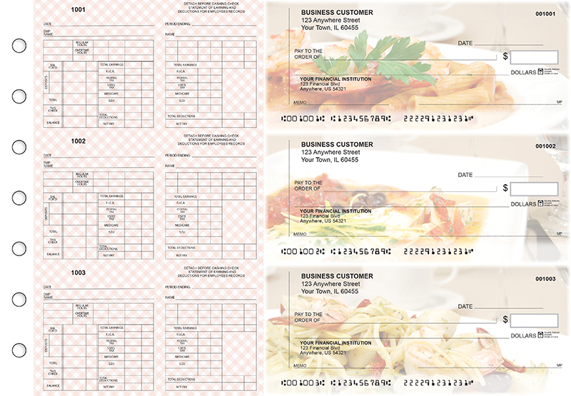Italian Cuisine Multi-Purpose Counter Signature Business Checks