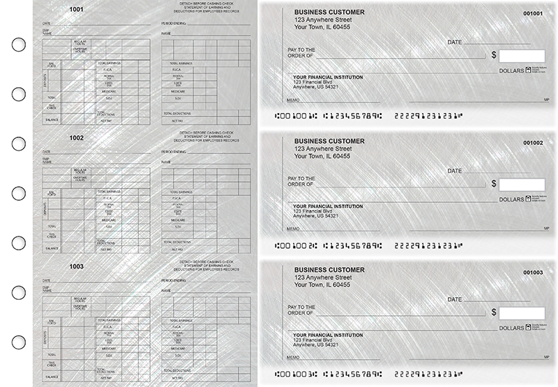 Brushed Metal Multi-Purpose Counter Signature Business Checks