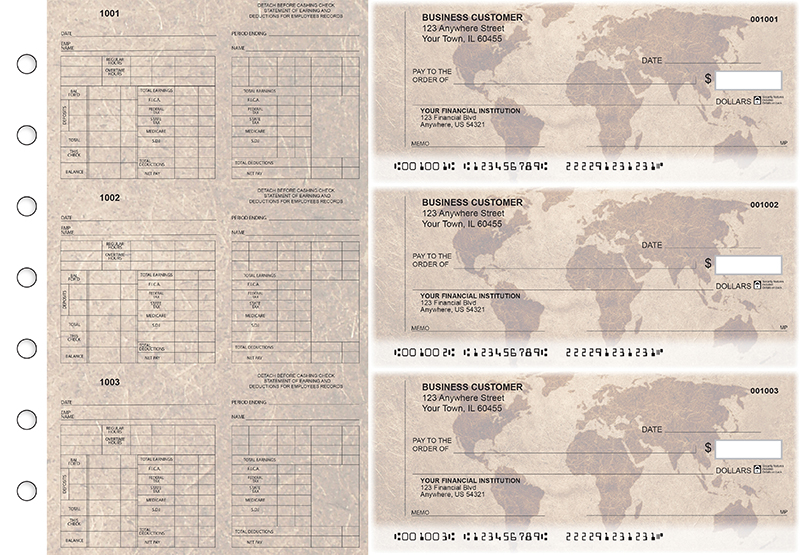 World Map Multi-Purpose Counter Signature Business Checks