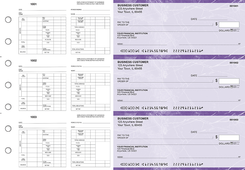 Purple Marble Multi-Purpose Hourly Voucher Business Checks