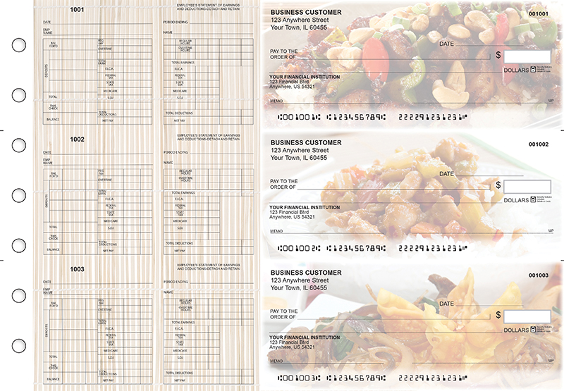 Chinese Cuisine Multi-Purpose Hourly Voucher Business Checks
