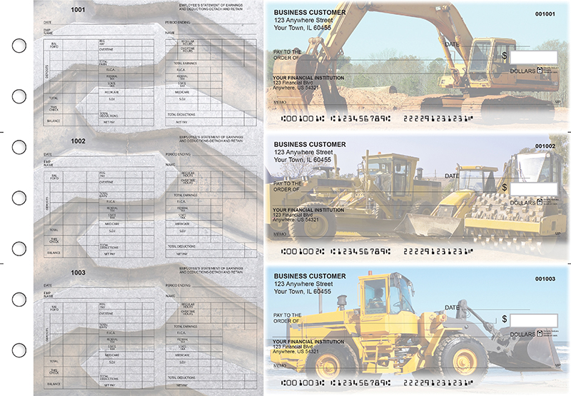 Construction Multi-Purpose Hourly Voucher Business Checks