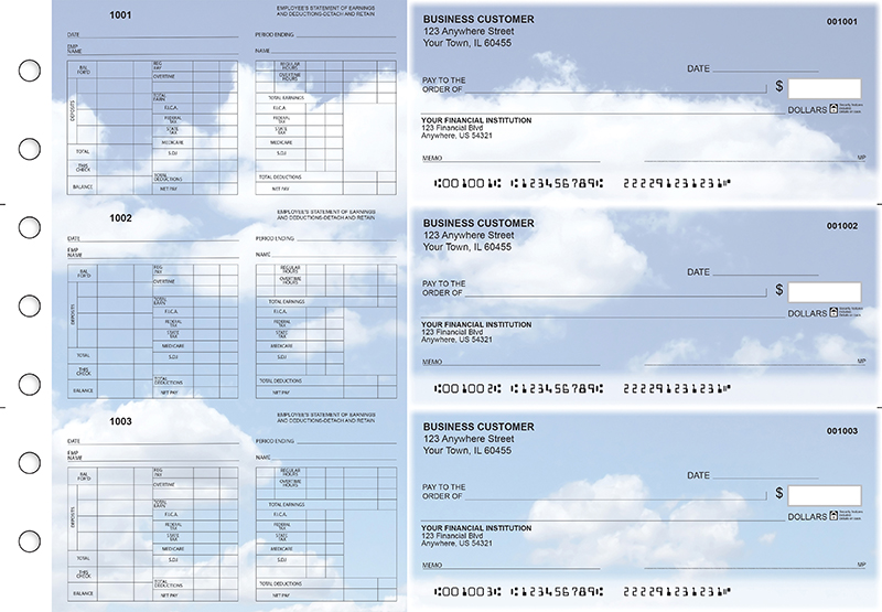 Clouds Multi-Purpose Hourly Voucher Business Checks