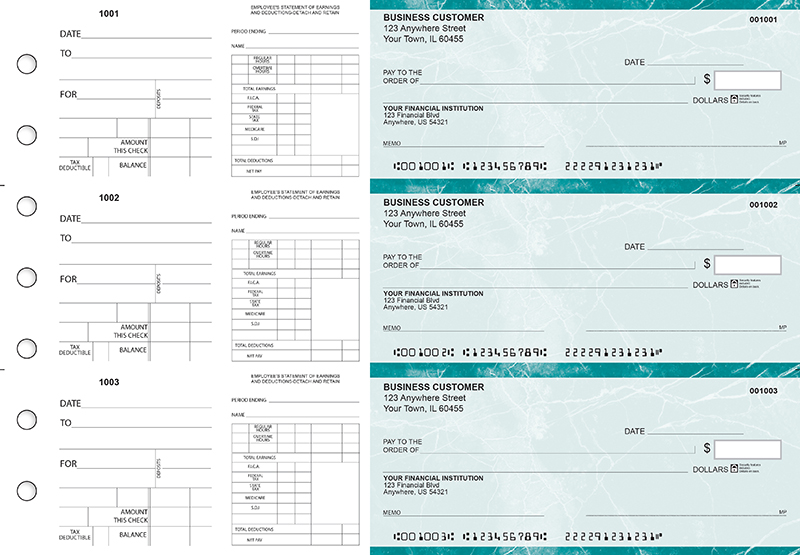 Teal Marble Dual Purpose Voucher Business Checks