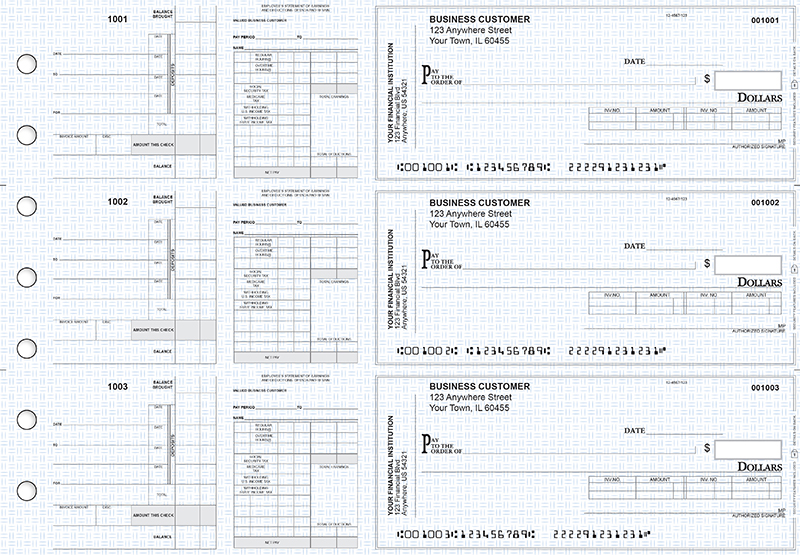 Blue Knit Payroll Invoice Business Checks