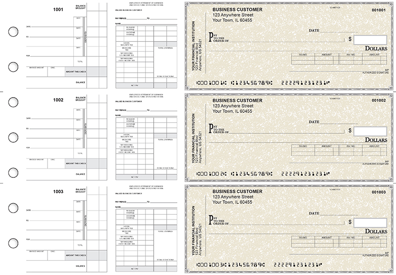 Tan Parchment Payroll Invoice Business Checks