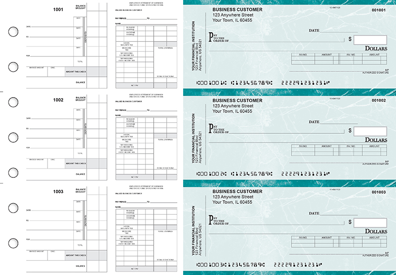 Teal Marble Payroll Invoice Business Checks