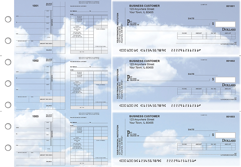 Clouds Payroll Invoice Business Checks
