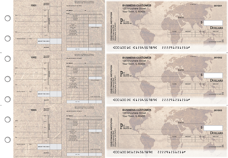 World Map Payroll Invoice Business Checks
