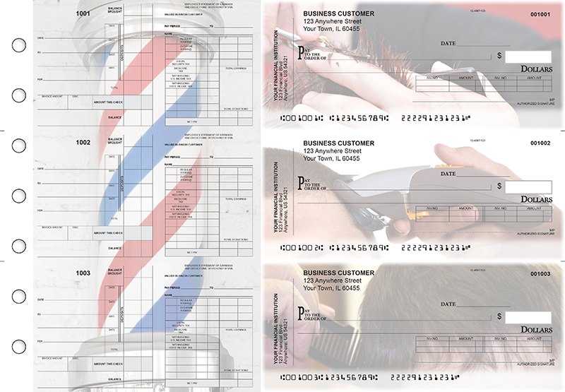Barber Payroll Invoice Business Checks