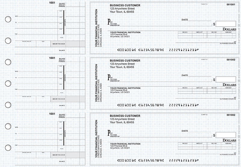 Blue Knit Invoice Business Checks