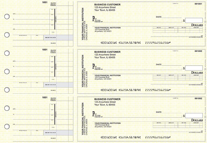 Yellow Knit Invoice Business Checks
