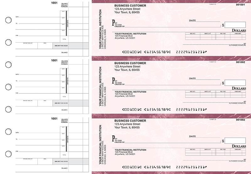 Burgundy Marble Invoice Business Checks