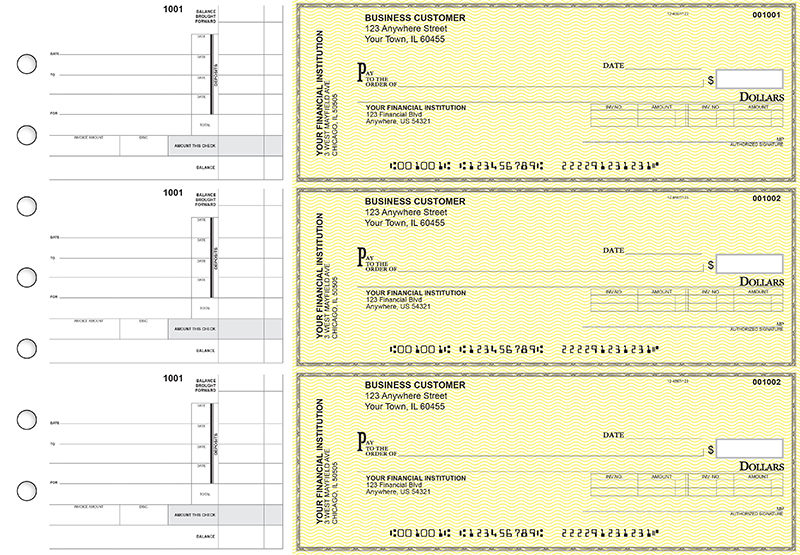 Yellow Safety Invoice Business Checks