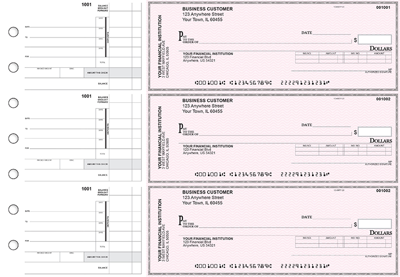 Pink Safety Invoice Business Checks