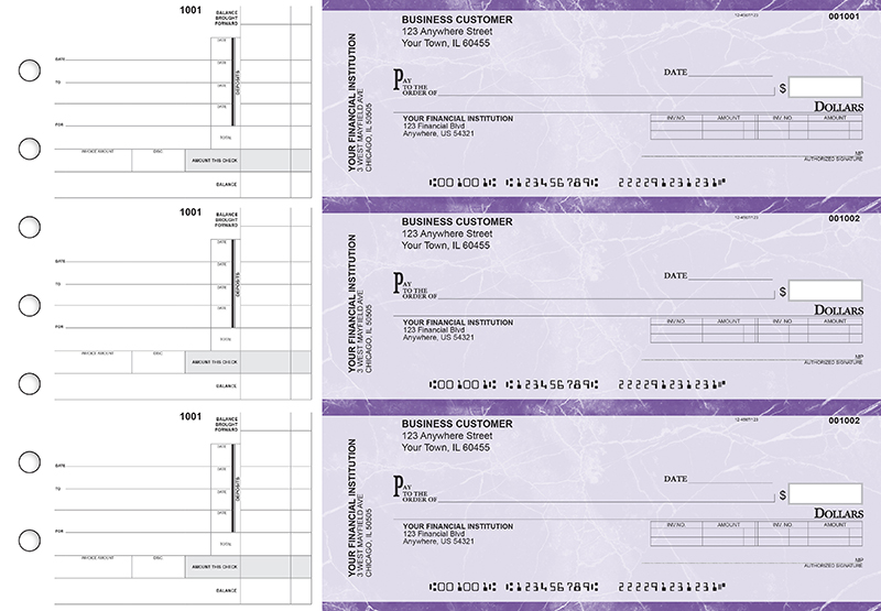 Purple Marble Invoice Business Checks