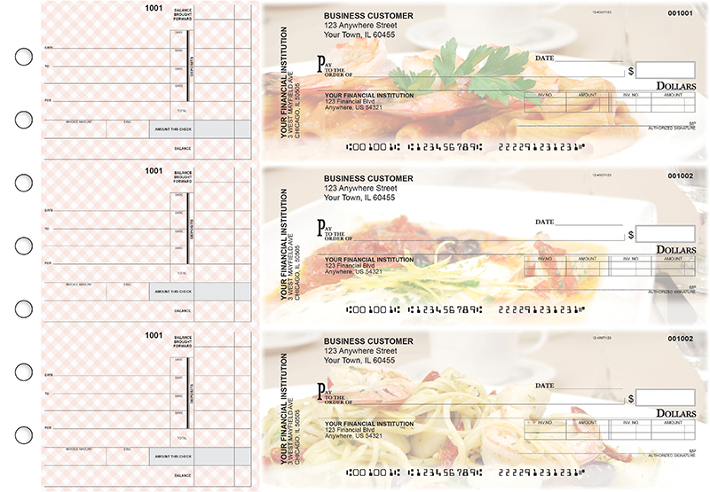 Italian Cuisine Invoice Business Checks
