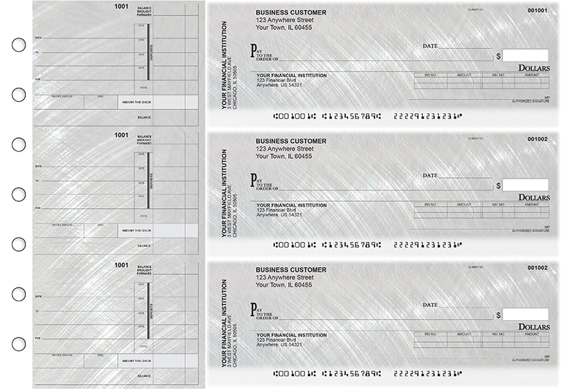 Brushed Metal Invoice Business Checks