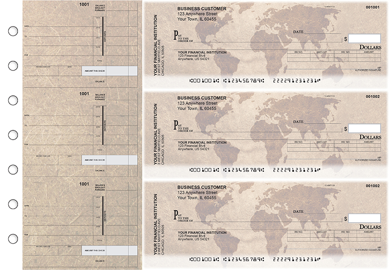 World Map Invoice Business Checks