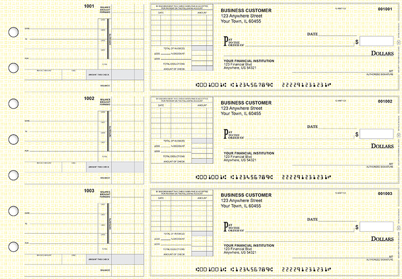 Yellow Knit Itemized Invoice Business Checks