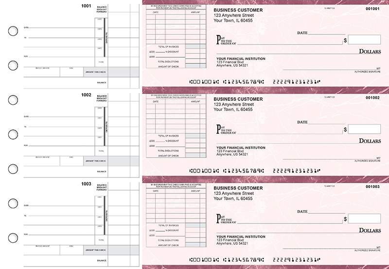 Burgundy Marble Itemized Invoice Business Checks