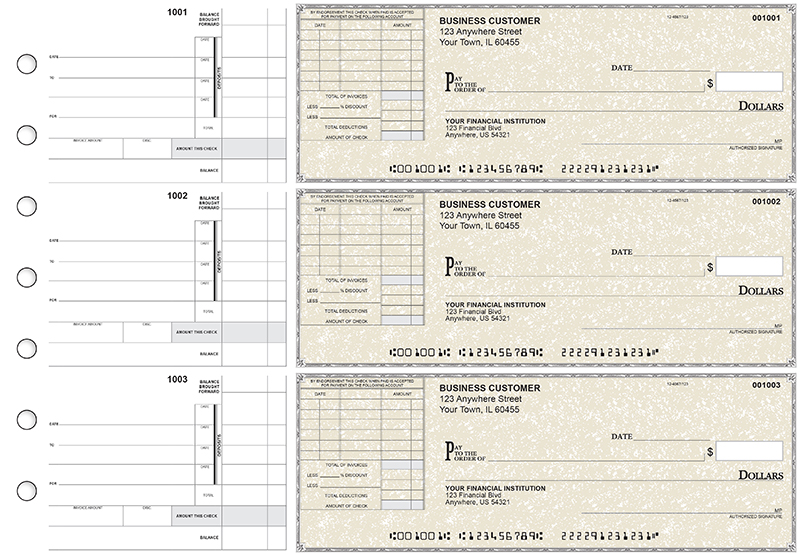 Tan Parchment Itemized Invoice Business Checks