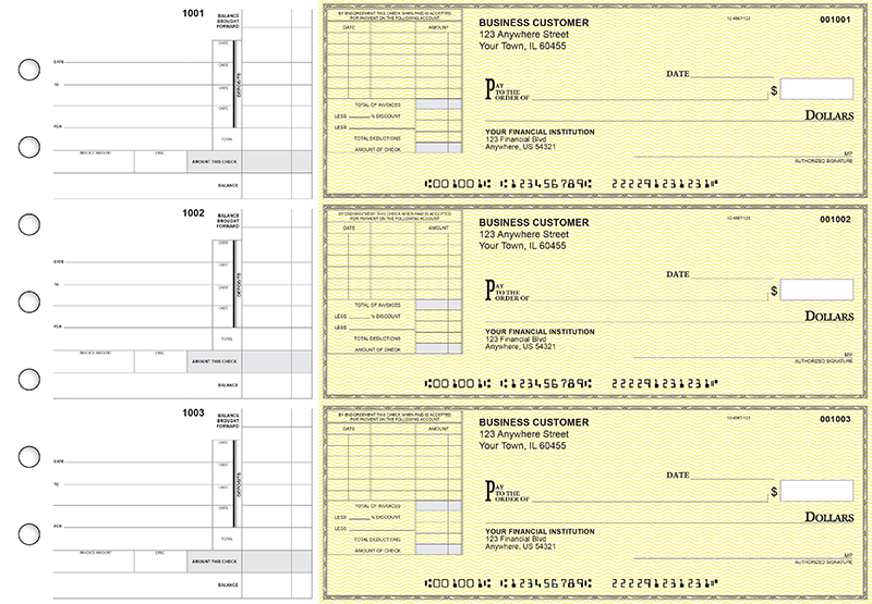 Yellow Safety Itemized Invoice Business Checks