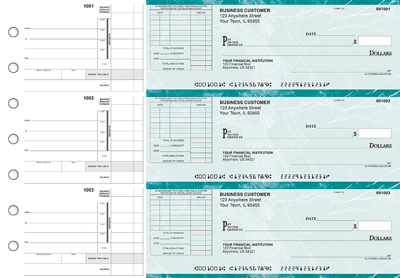 Teal Marble Itemized Invoice Business Checks
