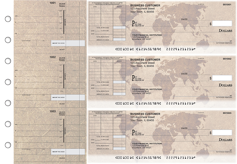 World Map Itemized Invoice Business Checks