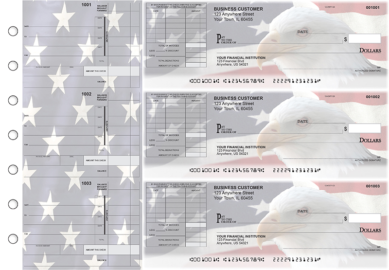 American Flag Itemized Invoice Business Checks