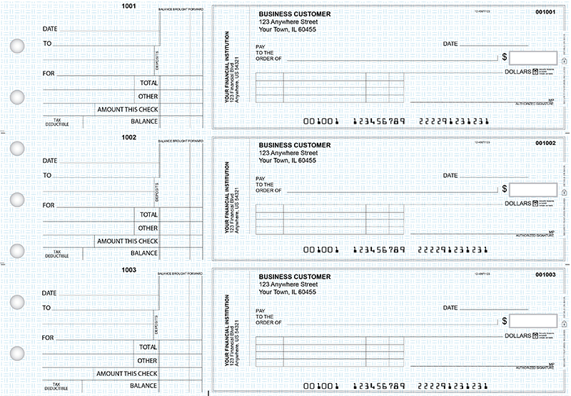 Blue Knit Standard Invoice Business Checks