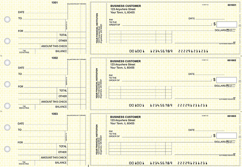 Yellow Knit Standard Invoice Business Checks