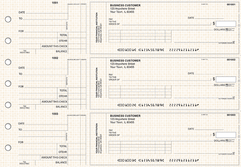 Tan Knit Standard Invoice Business Checks