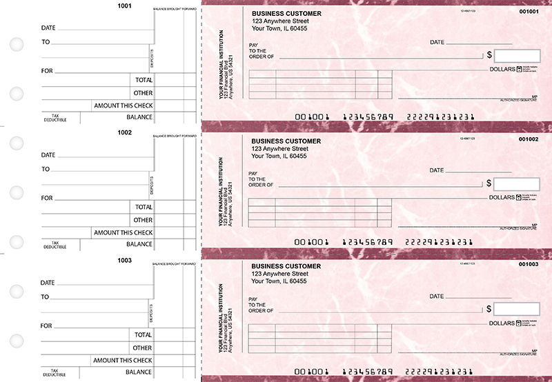 Burgundy Marble Standard Invoice Business Checks